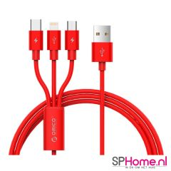 Orico Kabel 3in1 USB-A - USB-C, Micro-B en Lightning | 1.2m Rood | UTS-12